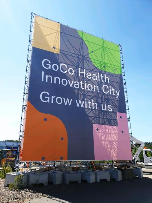 Vepa på byggställning för GoCo Health Innovation City