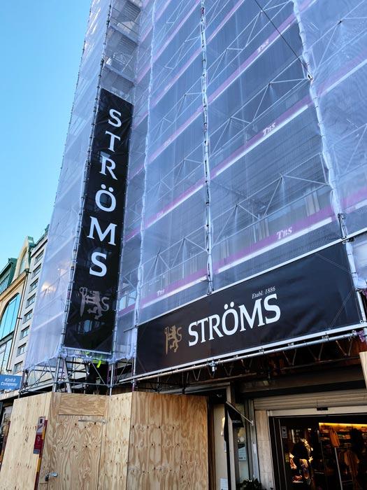 Byggställningsvepa för Ströms i Göteborg